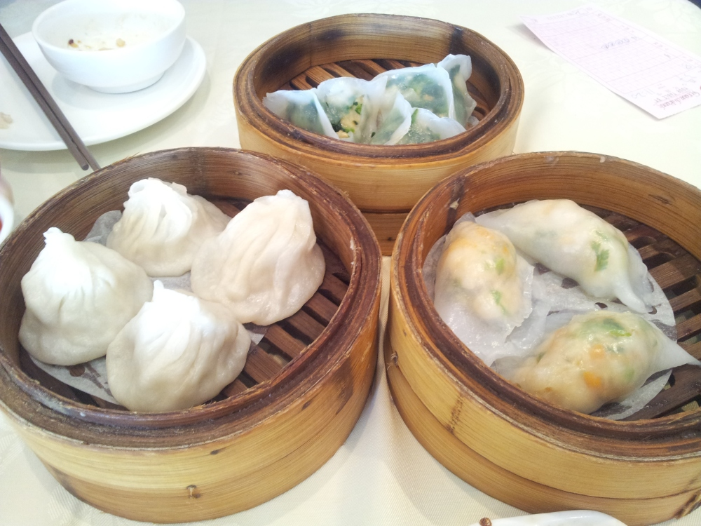 Left: Xiao Long Bao, Middle: Spinach Dumpling, Right: Coriander Dumpling
